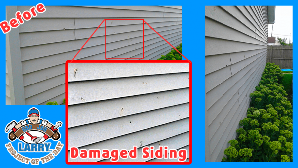 damaged siding before handyman siding repair