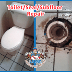Toilet before repair and bad seal