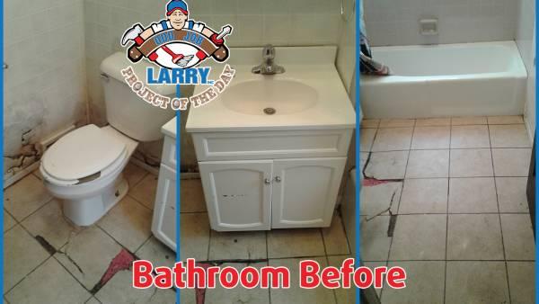 bathroom floor before handyman repair
