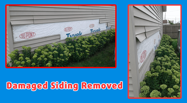 damaged siding removed during handyman siding repair