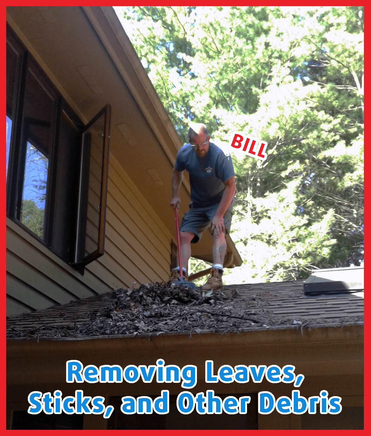 Man sweeping leaves, sticks, and debris off of roof and out of gutters
