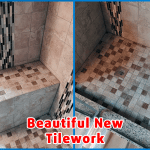 Beautiful new tile installed with shower seat
