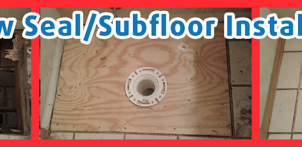 Progressive repairs made to toilet seal and sub-floor.