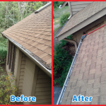 before and after images of gutter cleaning