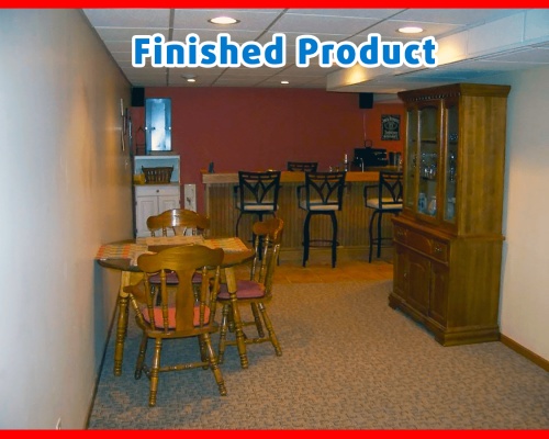 finished basement with full wet bar and table