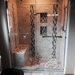 Complete shower installation with intricate tile placement