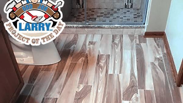 Finished bathroom hardwood floor