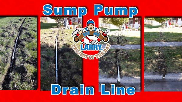 handyman burying sump pump drain line